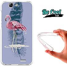 Becool® Fun - Funda Gel Flexible para Huawei Ascend G7 .Carcasa TPU fabricada con la mejor Silicona, protege y se adapta a la perfección a tu Smartphone y con nuestro diseño exclusivo Flamenco rosa