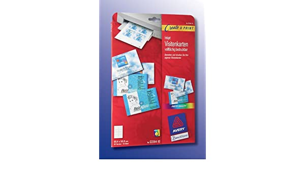 Avery Zweckform C 2354 10 Jet Dencre Cartes De Visite Micro Perfores Personnalisables 4 All Over X 508 Mm 80 Feuilles Amazonfr Fournitures