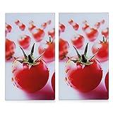 Zeller 26270 - Tabla para cortar de cristal, tomate, 52 x 30 cm, 2 unidades