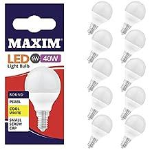Maxim LED redonda blanca fría rosca Edison pequeña (SES) bombilla 6 W (40