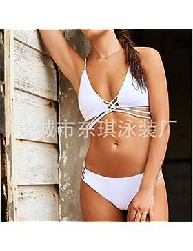 TIANLU Bikini Sexy Conjuntos Bañador de Adelgazamiento Trajes de Baño Pura Tendencia de Bandas de Color Blanco...