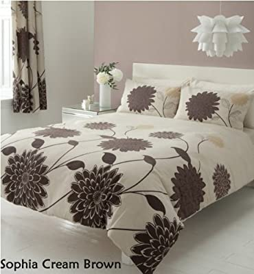 3pc Sophia Cream Brown King Size Bedding Bed Duvet Cover Quilt Set With Pillowcases - low-cost UK light shop.