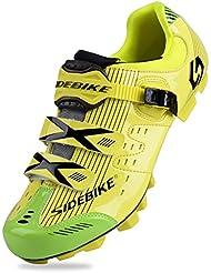 Ganar para hombre Casual zapatos ciclismo transpirable con carbono suelas o Nylon Tpu suelas para carretera y MTB Yellow for MTB Talla:9 UK
