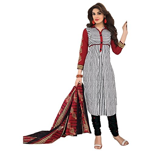 Rajnandini Women's cotton Printed Unstitched salwar suit Dress Material (Maroon _Free Size)