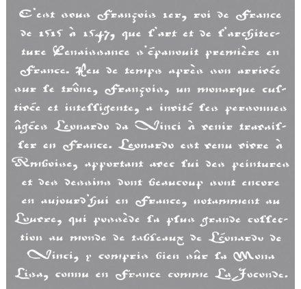 RAYHER HOBBY 38908000 Schablone Französische Schrift, 30,5 x 30,5 cm, Polyester, SB-Btl 1 Stück