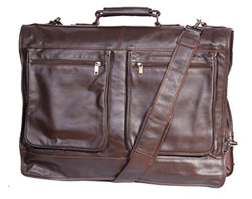 Echte Luxus Leder Anzug Kleidersäcke A112 Braun Travel Cabin Bag - Leder-reise-kleidersack