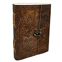 ‏‪Large Vintage Owl Embossed Blank Book Sketchbook Notebook Leather Journal/Instagram Photo Album (Handmade Paper) - Coptic Bound with Lock Closure by Aislinn Leather (Owl Emboss - Tan Color)‬‏