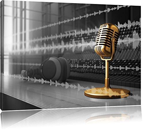 Cooles-Musikstudio-schwarzwei-Format-120x80-auf-Leinwand-XXL-riesige-Bilder-fertig-gerahmt-mit-Keilrahmen-Kunstdruck-auf-Wandbild-mit-Rahmen-gnstiger-als-Gemlde-oder-lbild-kein-Poster-oder-Plakat