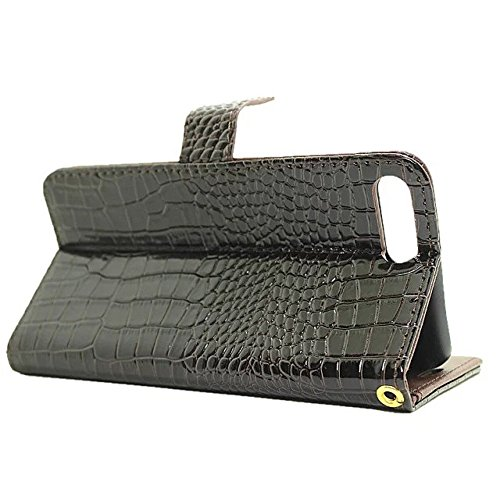 IPhone 7 Plus Case, Glatte Oberfläche Krokodil Pattern 3 Card Slots Flip PU Leder Brieftasche Case Mit Lanyard Für IPhone 7 Plus ( Color : White ) Brown