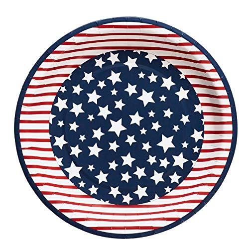 94 Einweg-Pappteller mit amerikanischer Flagge, Rot, Weiß und Blau, 26,7 cm Durchmesser, 8 Stück ()