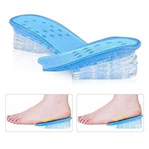 Einlegesohlen Höhe Erhöhung, 5 Schichten Struktur transparent verstellbar Silikon Heel Lift Gel Secret Einlegesohle Pads erhöht Herren Frauen Schuh fügt, lindern Fuß Druck