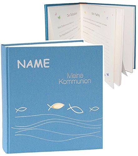 Kommunionsalbum / Fotoalbum -  Meine Kommunion  - incl. Name - Album / Fotobuch / Photoalbum - für bis zu 180 Bilder - Gebunden zum Einkleben - blanko - für..