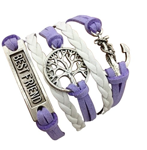 STRASS & PAILLETTES Armband Best Friend violett Baum des Lebens und Anker Geschenk für die Beste Freundin -