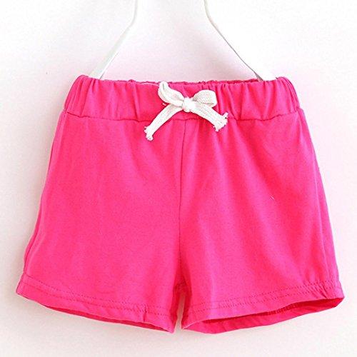 Unisex Baby Short, Holeider 1er-Pack Rot,Pink,Grün,Himmelblau (5T-130, Pink) (Stripe Pink Hose Capri)