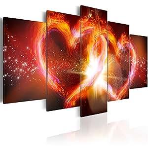 murando Quadro 200x100 cm 5 Pezzi Stampa su Tela in TNT XXL Immagini Moderni Murale Fotografia Grafica Decorazione da Parete Astratto Cuore 020101-256