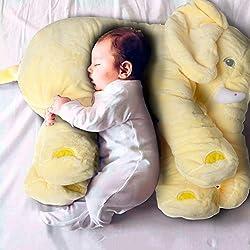 OAMORE Cute elefante almohada Cojín para bebé diseño de elefante Juguetes blandos felpa de almohadas (Amarillo, L)