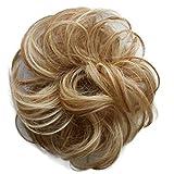 PRETTYSHOP 100% Human Hair Scrunchy Scrunchie Bun Up Do Hair Piece Hair Ribbon Ponytail Extensions Wavy Curly or Messy Div. colours (honey blonde mix 27H613 H312)