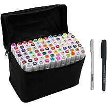 You's - Juego de rotuladores de doble punta para estudiantes, dibujantes de manga o artistas, con bolsa organizadora, 40 Colors (Blanc)