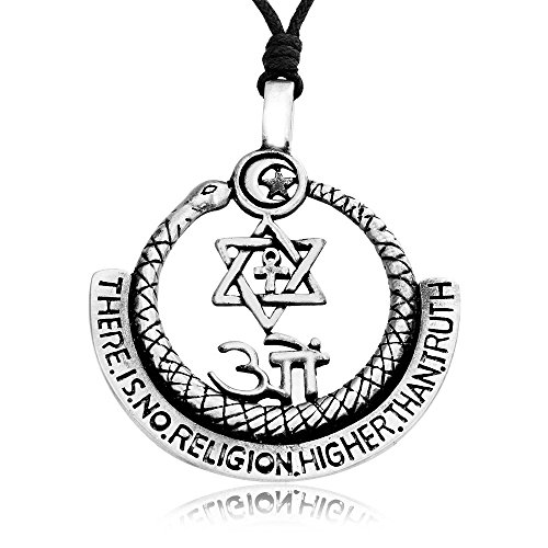 Llords Schmuck Halskette mit Symbolen aller Religionen Anhänger, feinster Zinn Metall Modeschmuck