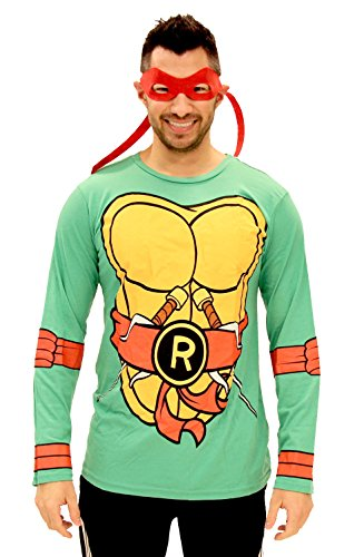 Turtles Long Sleeve Raphael Kostüm Erwachsene grün T-Shirt & Eye Mask (Large) (Einfach Teenage Mutant Ninja Turtle Kostüme)