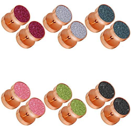 tumundo Set di 6 Pezzi / 1 Pezzo Plug Falso Finto Fake Piercing Estensore Orecchini Orecchio Gioielli Glitter Acciaio, couleur:rosé - Alle Farben / rosé - all colors