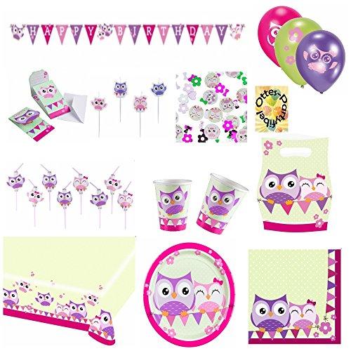 Happy Owl Lustige Eule Partyset 73 tlg. für 8 Kinder Teller Becher Servietten Einladungen Mitgebsel-Tüten Tischdecke Trinkhalme Luftballons Kerzen Konfetti Girlande
