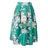 Gonna a Vita Alta per Donna - Elegante Motivi Floreali Swing Skirt Retro Casuale Estate Primavera Midi Gonna Pieghe con Cerniera Streetwear Taglie Forti