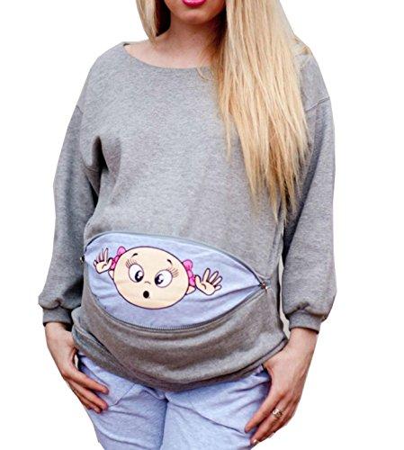 D-Pink Damen T Shirt Sweatshirt Umstandsshirt Trachten Shirt für Schwangere Schwangerschaft Bluse S-5XL (M, Grau)