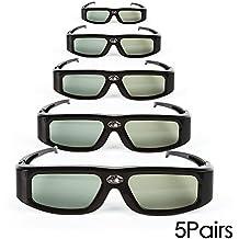 5 Pack of SainSonic&reg Zodiac 904 Series 144Hz Rechargeable 3D DLP-Link Projector Universal Active Shutter Glasses, Black