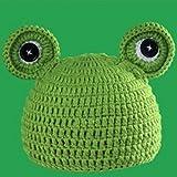 Primi-Unisex-Photo-Studio-Kid-beb-ropa-hecha-a-mano–tejer-gorro-verde-de-rana-verde