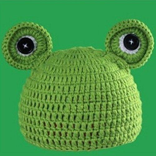 m Unisex Foto-Studio Kid Baby Garment handgefertigt Cute Stricken GRüN Frosch hat (Farbe: grün) (Kid Frosch Kostüm)