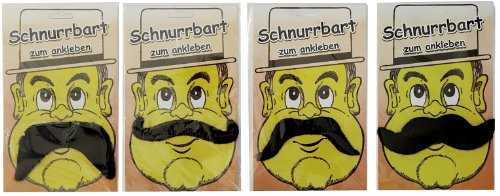 Schnurrbart zum Ankleben, 4-fach sortiert - Blonde Schnurrbart Kostüm