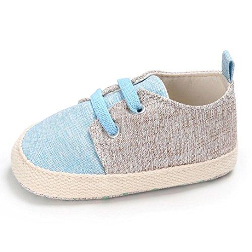 Uomogo scarpine neonato scarpe per battesimo o un matrimonio scarpe primi passi bambini bianco sole bambino scarpe stringate 0-18 mesi (età: 0~6 mesi, azzurro)