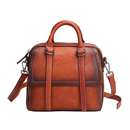 ETHBA Retro quadratische Tasche der Frauen Leder-Eimer-Tasche (Farbe : Brown, größe : 22 cm*20 cm*13.0 cm)