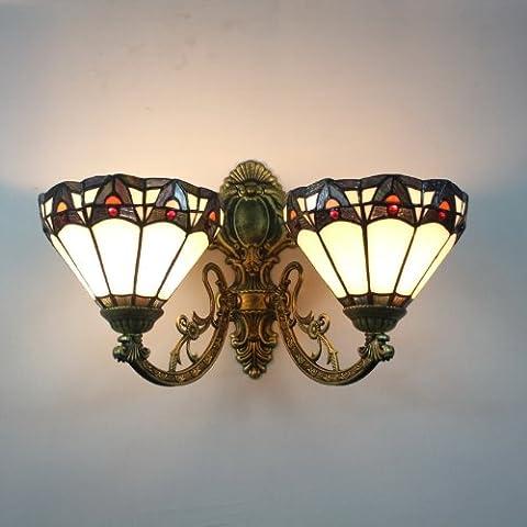 Tiffany 8-Zoll-Farbglaswandlampe Europaische minimalistischen 2-Leuchten