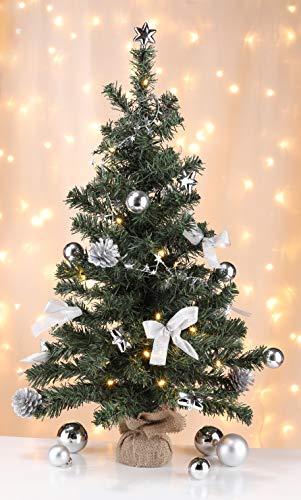 Bambelaa! Künstlicher Weihnachtsbaum Christbaum 75cm komplett geschmückt dekoriert mit Kugeln Sternen Tannezapfen Schleifen Girlande 20er LED Lichterkette 1 Stück Batterie (Silber)