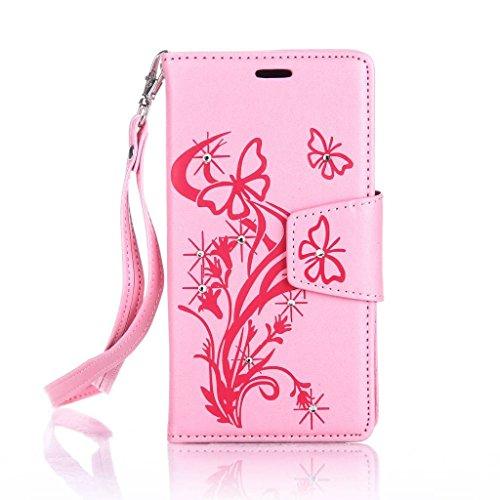 Uming® spéciales Séries Motif Colorful Imprimer cas PU Holster Case ( Diamond Embossing Dandelion Pink - pour IPhone 6 6S IPhone6S IPhone6 ) Artificial-cuir flip avec support Stander titulaire de la c Diamond Embossing Butterfly Pink