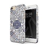 BURGA Hülle Kompatibel mit iPhone 7 / iPhone 8 Handy Huelle Licht Blau Weiß Mit Gold Marmor Marble Muster Moroccan Tiles Mosaik Dünn, Robuste Rückschale aus Kunststoff Handyhülle Schutz Case Cover