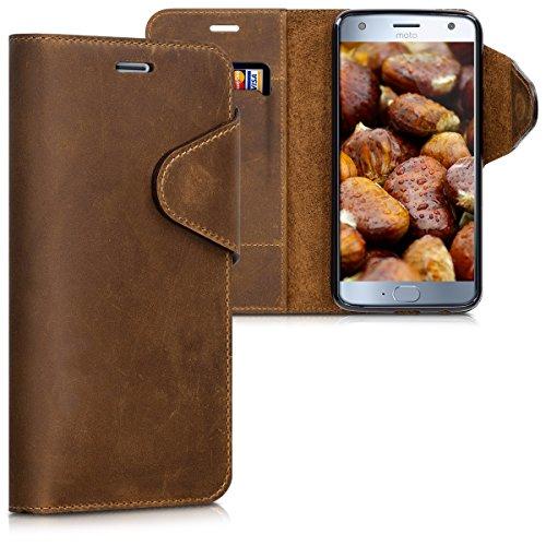 kalibri-Hlle-fr-Motorola-Moto-X4-Echtleder-Wallet-Case-Schutzhlle-mit-Fach-und-Stnder-in-Braun