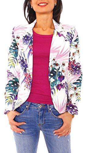 Damen Sommer Blazer Jacke Satinblazer Sakko Kurz Gefüttert Langarm Exotisch Floral Geblümt Blumen-Muster Creme-Rosa-Lila M - 38