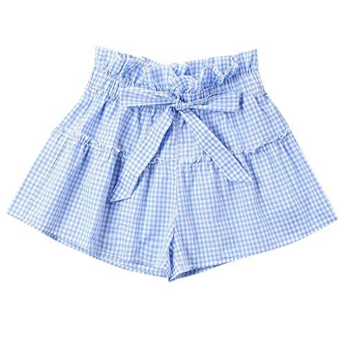 MOTOCO Damen Sommer LäSsige A-Word Weite Hose Bogen Elastische Taille Shorts(L,Blau) -