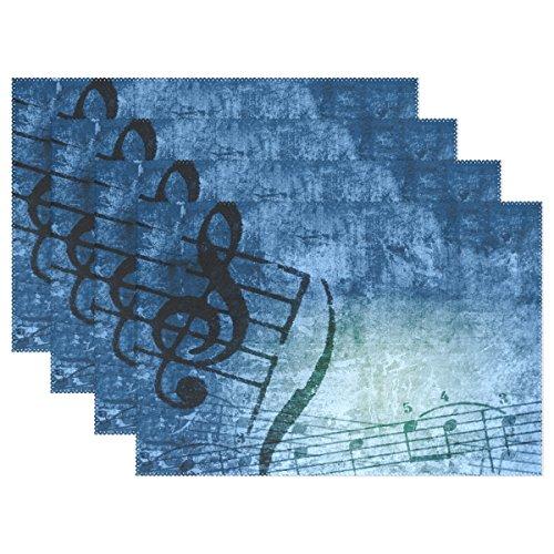 naanle Klaviernoten Musik Grunge Noten Melodie Platzdeckchen Set von 1/4/6waschbar Tisch Matte für Küche Esstisch 30,5x 45,7cm Platzsets Traditionell blau