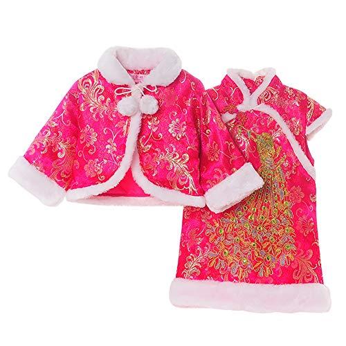 Baby Mädchen Winterkleid Set Qi Pao Dragon & Phoenix Muster-Rotes Kleid und Mantel 2 Stück...