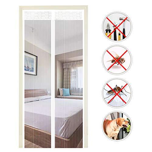 Extsud Magnet Fliegengitter Tür Insektenschutz 100x220 cm Magnetischer Fliegenvorhang Moskitonetz Automatisches Schließen Insektenschutz für Balkontür Wohnzimmer Klebemontage ohne Bohren