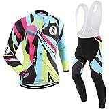 (Cojín 3D)(traje(Forro polar & strap blancas) tamaño:L) sudo larga Moda rendimiento para manga rompevientos los ciclismo de chaleco ropa transpirable Jerseys hombres maillot
