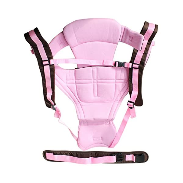 Vine Adjustable 4 Positions Baby Carrier 3D Backpack Pouch Bag Infant Wrap Soft Structured Ergonomic Sling Front Back Pink Vine 4 carrying position modes: Chest way, kangaroo style, back carry, cross arm carry Wide padded straps for the relief of Baby's weight, helps prevent back ache Adjustable shoulder belt, double-protection safety buckle lock, 3D ventilating back pad 5