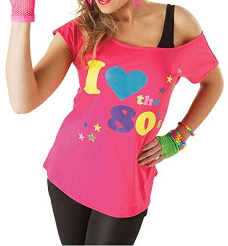 Damen I Love The 80er Jahre T-shirt Outfit Damen Pop Star Top Kostüm - Rosa, EU 46-48