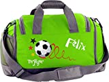 Mein Zwergenland Multi-Sporttasche mit Schuhfach mit Namen und Wunschmotiv, 41 L, limegreen
