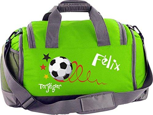 Sporttasche Multi mit Schuhfach mit Namen und Wunschmotiv (limegreen)