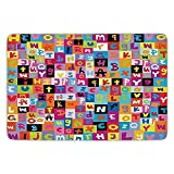 XIEXING Water Absorption Reactive Dyeing Durability Doormat Bathroom Bath Rug Kitchen Floor Mat Carpet,Abstract,Colored Alphabet Letters Pattern Education School Puzzle Children Graphic Print,Multico